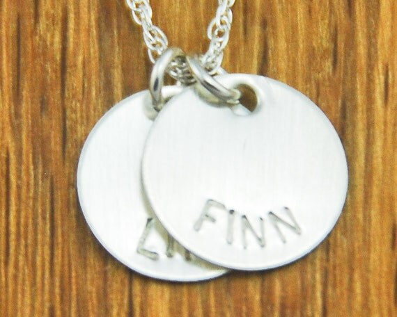 Personalized Handstamped Mom Silver Charm Necklace - Children Kids Names - 2 Disc Custom Sterling Silver Monogram Initial Name Disc Necklace