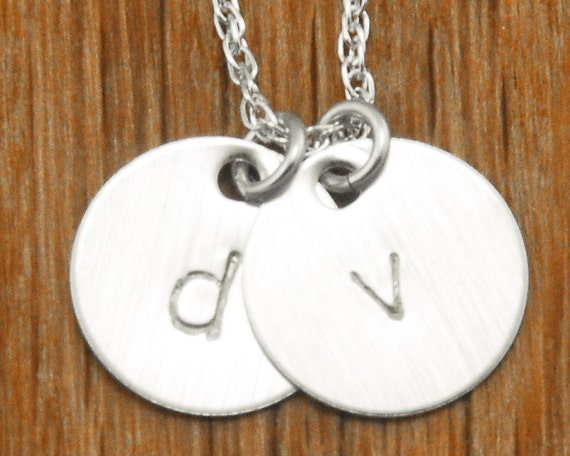 Personalized Handstamped Silver Initial Necklace - 2 Disc Charm Monogram Mom Necklace - Mommy Engraved Gift Push Present