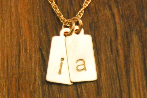 Personalized Gold Initial Necklace - Two Small Tags Kids Initial Mom Charm - 2 Childrens Names Handstamped Monogram Mommy Push Present Gift