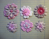 Set 6 Pink Prima Essential flowers mulberry paper girl  printed words on petals