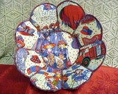 Red Hat Society handmade fabric bowl reversible FREE SHIPPING