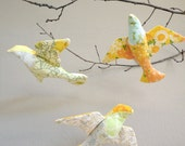yellow fabric birds - hanging set of 3