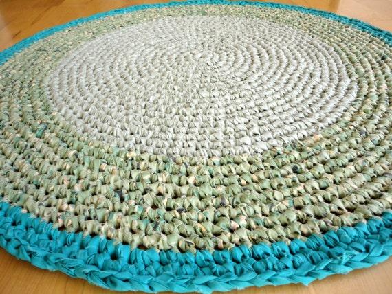 RESERVED rag rug - round grey green teal crochet