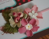 Lovely Spring Flowers Photo Prop Headband for Newborn . Ready to Ship . A20