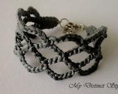 Crochet Bracelet in Dark Grey