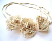 Hair ribbon or necklace or belt with 3 small flowers in silk beige shabby, crumpled look.
