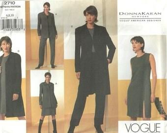 Vogue 2710 Designer Sewing Pattern by Donna Karan // Pants Dress Jacket Coat Wardrobe