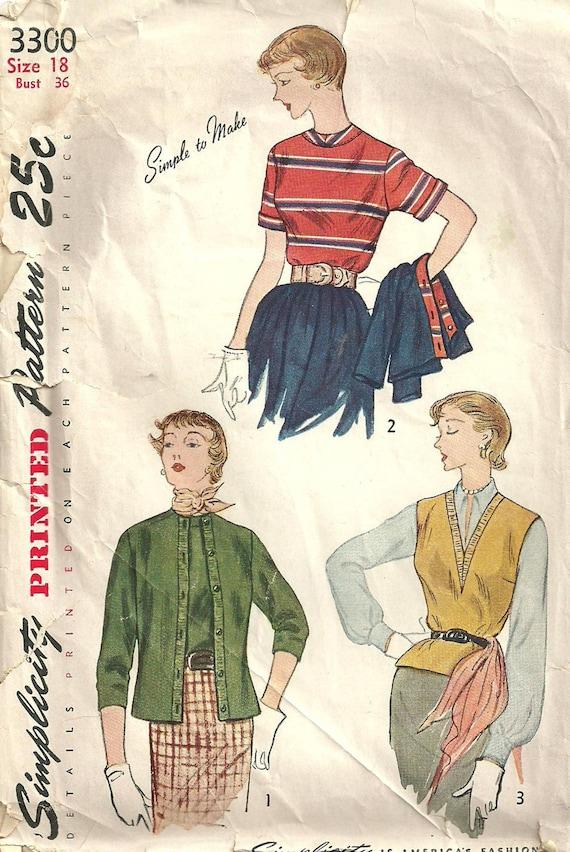 Vintage Sewing Pattern Simplicity 3300