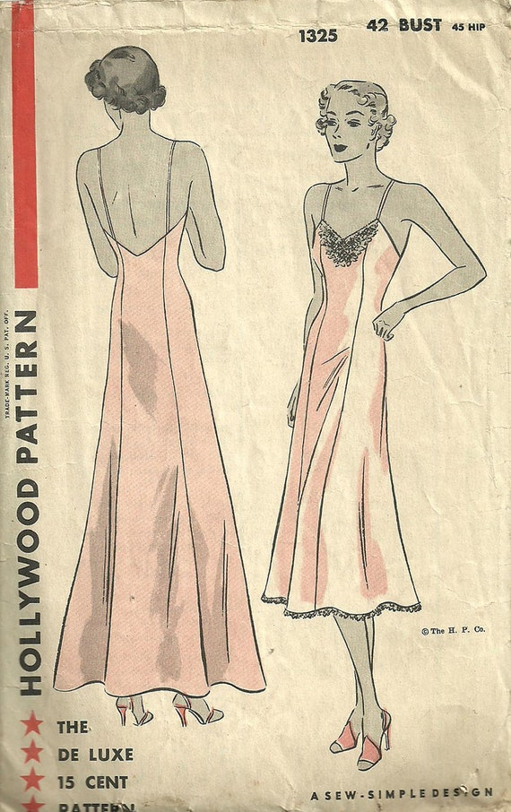 Vintage Thirties Sewing Pattern from Hollywood 1325
