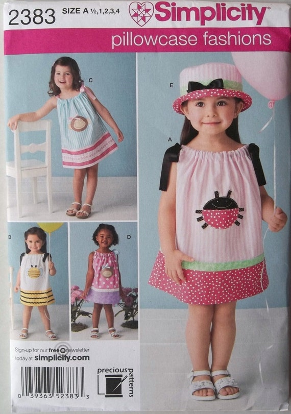Toddlers Pillowcase Dress with Hat Sz 6mo to 4 Simplicity 2383 uncut pattern