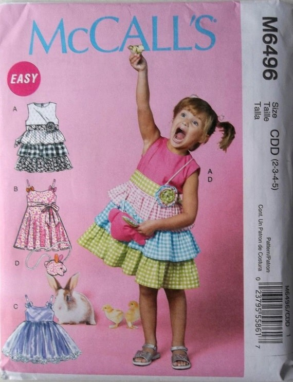 Girls Dresses, Belt, & Purse Sz 2 to 5 McCalls 6496 uncut sewing pattern