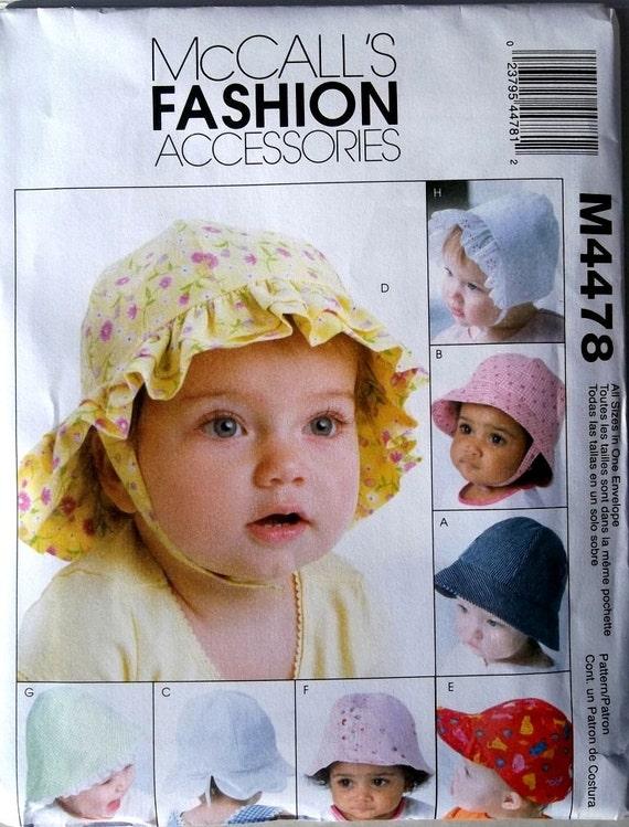 Infant Hats for Girls & Boys  McCalls 4478 uncut pattern