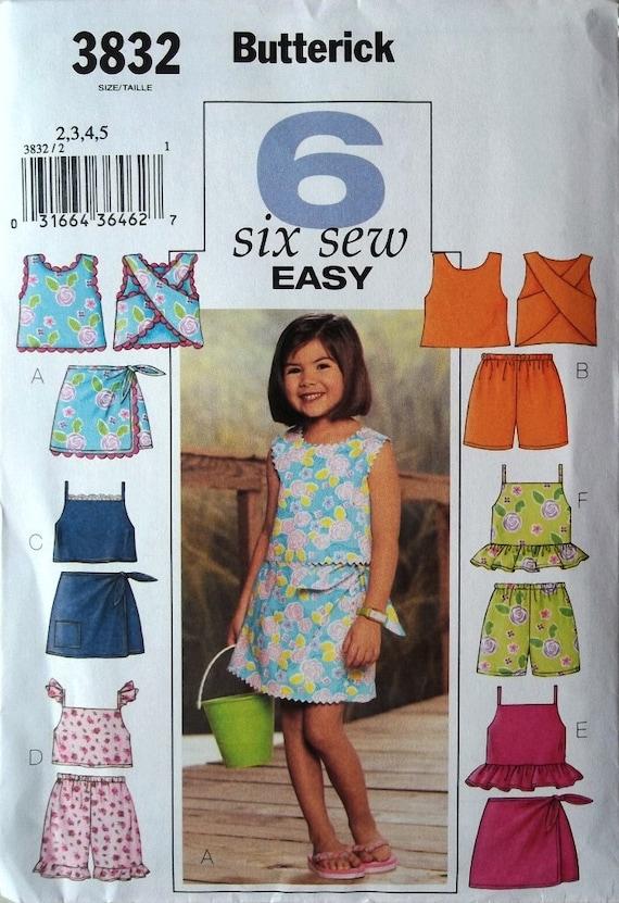 Girls Tops, Skort & Shorts Sz 2 to 5 Butterick 3832 uncut pattern