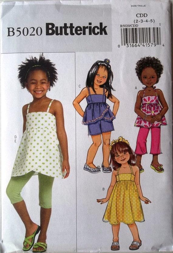 Girls Sundress, Top, Leggings, Pants & Shorts Sz 2 to 5 Butterick 5020 uncut pattern