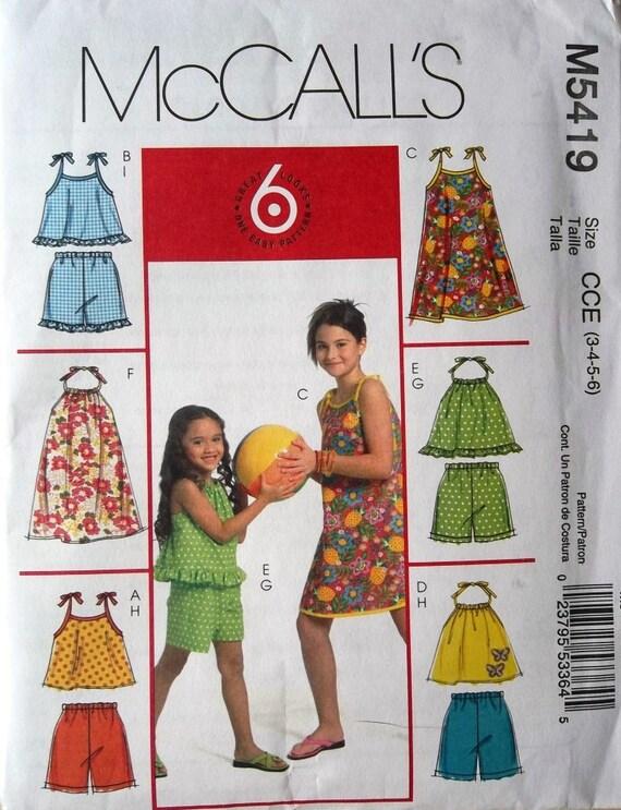 Girls Sundress, Tops & Shorts Sz 3 to 6 McCalls 5419 uncut pattern