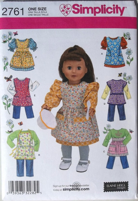 18 inch Doll Aprons, Dress, Pants & Tops Simplicity 2761 uncut pattern
