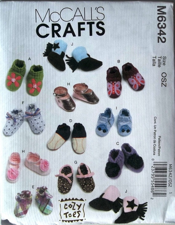 Baby's Shoes, Boots & Slippers Sz S,M,L McCall's 6342 uncut sewing pattern