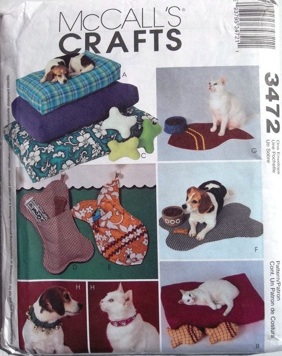 Pet Accessories Cat & Dog Beds Food Mats Toys McCalls Crafts 3472 uncut sewing pattern