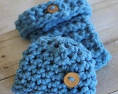 Diaper Cover and Hat Set for Baby, Crocheted Newborn Photo Props in Blue