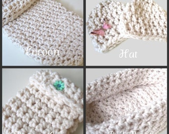 Baby Photography Prop Package B, Hand Crocheted Hat, Diaper Cover, Pod Bowl, Cocoon