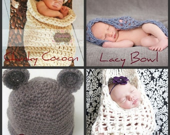 Photo Prop CROCHETING PATTERNS, Four Patterns, Chunky Cocoon, Lacy Bowl, Bear Hat, Stork Sack, Instant Download