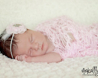 Baby Wrap Photo Prop, Newborn Hand Knit Pink Lacy Basket Liner