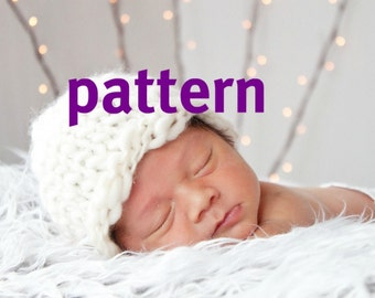 Beanie Hat KNITTING PATTERN Thick and Thin Texture, Baby Photography Prop, Instant Download