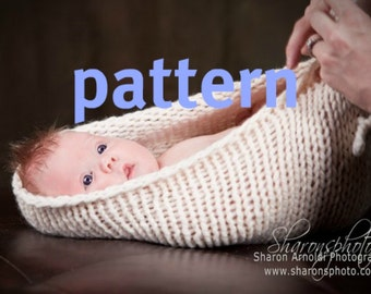 Baby Bowl KNITTING PATTERN, Chunky Pod Bowl, Newborn Photography Prop, Instant Download