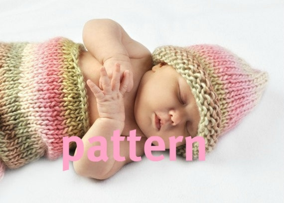 Newborn Cocoon KNITTING PATTERN and Matching Hat, Baby Photography Prop, Sell What You Make, Instant Download