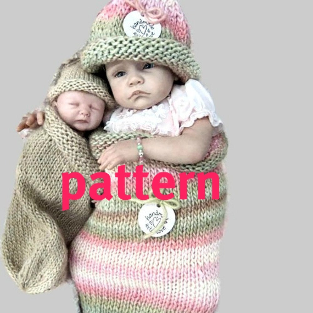 Knitting Pattern Dolls Hat : KNITTING PATTERN Reborn Doll Cocoon and Hat Sell What You