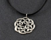 Celtic Knot Sterling Silver Necklace on choice of Sterling Silver Box Chain or Black Satin Cord
