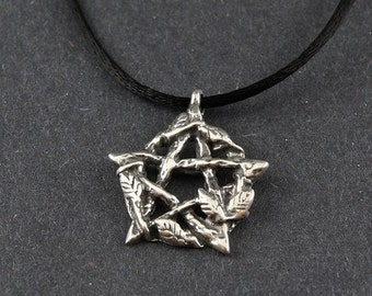 Pentacle Sterling Silver Persephone's Pentacle on Sterling Silver Box Chain or Black Satin Cord