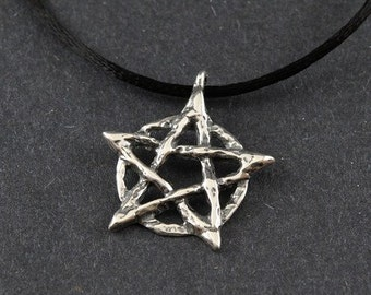 Pentacle Rustic Sterling Silver Necklace on Sterling Silver Box Chain or Black Satin Cord
