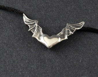 Heart In Flight Bat Wings Sterling Silver Necklace on choice of Sterling Silver Box Chain or Black Satin Cord