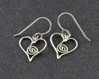 Heart Sterling Silver Earrings Spiral Heart