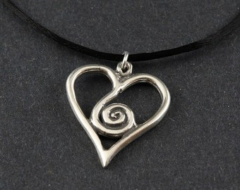 Spirit Heart/Spiral Heart Sterling Silver Necklace on choice of Black Satin Cord or Sterling Box Chain