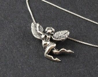 Garden Fairy Winged Prosperiity Sterling Silver Necklace