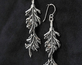 Oak Leaf Double Earrings Sterling Silver