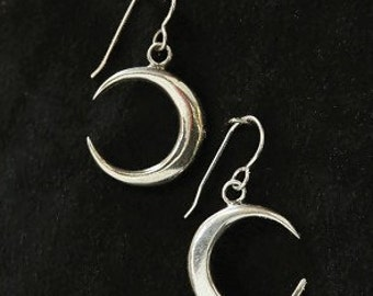 New Moon Crescent Sterling Silver Earrings
