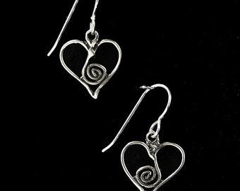 Spirit Heart/Spiral Heart Sterling Silver Earrings