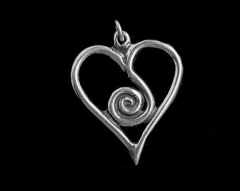 Spiral Heart Spirit Sterling Silver Necklace on choice of Sterling Silver Chain or black satin cord