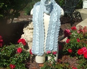 Hand Crocheted Romantic Baby Blue Winter Scarf