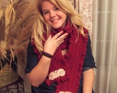 Hand Crocheted Cranberry Warmth Scarf