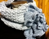Ruffled Baby Blue Crocheted Neckwrap