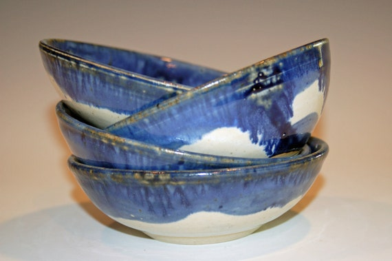 Pottery Bowls with Blue and Buttermilk Glaze, Set of 4, for Ice Cream, Cereal or Soup