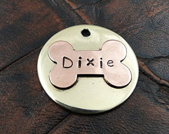 Custom Pet ID Tag Dixie Bone Handmade Personalized Dog Collar ID Tag