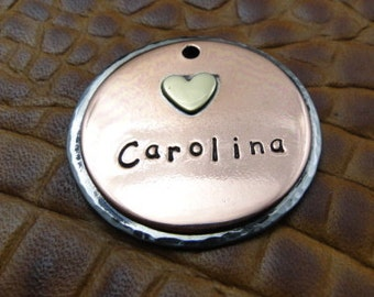 Custom Carolina Dog ID Tag, Pet ID Tag, Personalized Heart ID Tag, Dog tag for Dogs