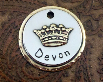 Little Crown Pet ID Tag, Custom Cat or Dog Collar ID Tag, Handmade Pet ID Tag