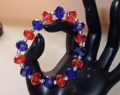BSU Bronco Orange and Blue Crystal Bead Bangle Bracelet