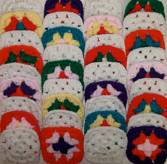 Make Your Own Patchwork Afghan With 36 Handmade Mixed Colors Granny Squares Lot M 49